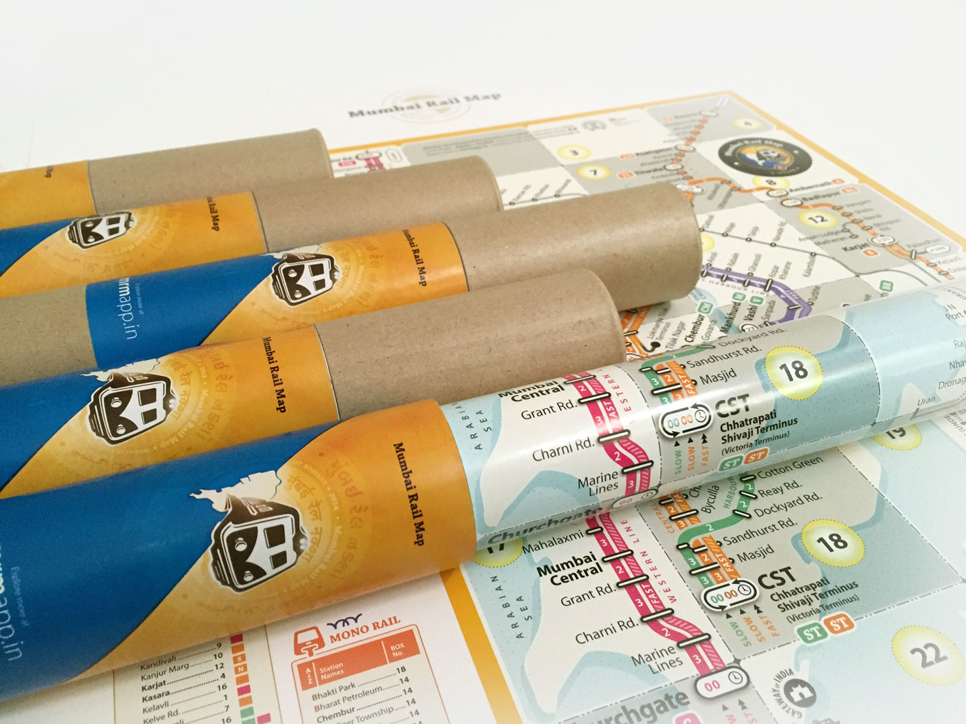 mumbai rail map roll print